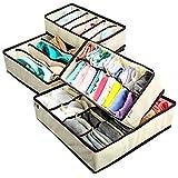 Trexee Foldable Storage Box Type Non-Smell Drawer Organizer for Socks Bra Tie Scarfs(Beige,4 box) - Set of 4