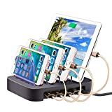 4 Port USB Charging Station for Apple Watch and iPhone and Airpods, Miya Universal Detchable Charge for Multiple Devices Simultaneously USB Charger Hub Stand Holder for Cellphone, Tablets - Black