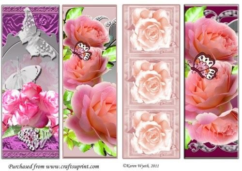 Flutterby Roses segnalibro set di Karen Wyeth Craftsuprint