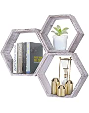 Rustic Wall Mounted Hexagonal Floating Shelves – Set of 3 – Large, Medium and Small – Screws and Anchors Included - Farmhouse Shelves for Bedroom, Living Room and More – Honeycomb Wall Décor