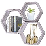 Rustic Wall Mounted Hexagonal Floating Shelves – Set of 3 – Large, Medium and Small – Screws and Anchors Included - Farmhouse Shelves for Bedroom, Living Room and more – Honeycomb Wall Décor - Rustic White