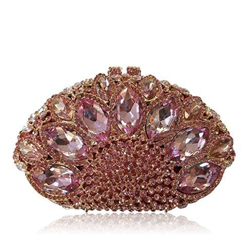 Flada Handbag Clutch Champagne Women Purse Evening Shape Gemstone Sector Rhinestones Wedding rE6CwxrqR8