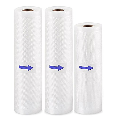 Vacuum Sealer Bags Food Saver Bags Rolls 2 Pack 8 inches X16.5 Feet 1pack 6 inches X16.5 for Food Preservation and Cooking FoodVacBags