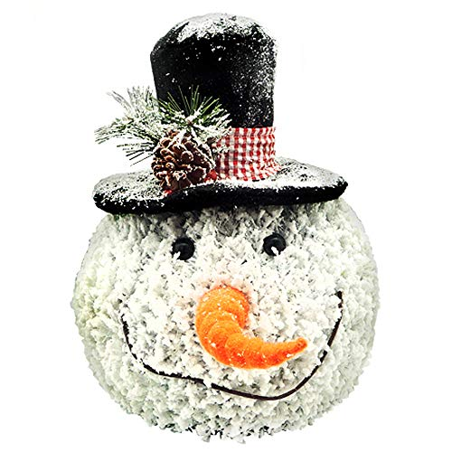 ReLive Snow Flocked Fiber Optic Snowman with Top Hat, 12