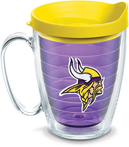 Tervis 1084488 NFL Minnesota Vikings Primary Logo Tumbler with Emblem and Yellow Lid 16oz Mug, Amethyst