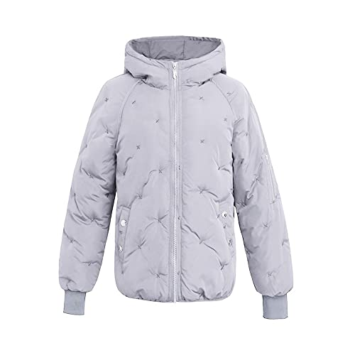 OCHENTA Mujer Abrigos Corto Chaqueta Invierno Con capucha Casual Caliente Gris Etiqueta 2XL-ES 40