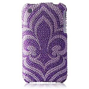 ZXSPACE Purple Bottom Flower Bling Case PC Hard Case for iPhone 3G/3GS