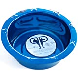 Platinum Pets 8-Cup Stainless Steel Wide Rimmed Bowl, Blue