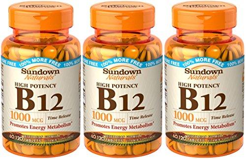 Sundown Naturals Vitamin B12 Tablets, 1000 mcg, 360 Tablets (3 X 120 Count Bottles)