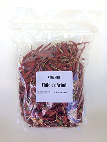 De Arbol Chile - Mexican Whole Dried Arbol Chili Peppers - 1 Lb Resealable Bag - Casa Ruiz Brand - Tannic Smoky Grassy Bold Spicy Fiery Heat - Mexican Related to Cayenne or Pequin - Pico De Pajaro -