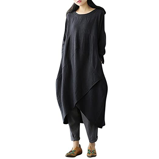 04419a4003905 Image Unavailable. Image not available for. Color  Plus Size Tops Vintage  Women Long Sleeve Tunic Baggy ...