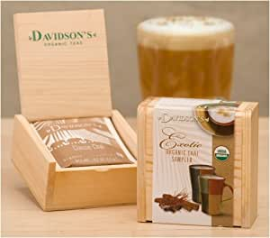 Davidson's Exotic Organic Chai Sampler Tea Chest, 6 Assorted Teabags,  (Pack of 6)