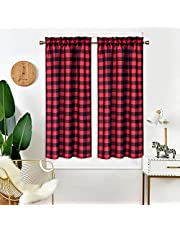"""IDEALHOUSE Red and Black Tier Curtains,Buffalo Check Plaid Gingham Short Window Curtain for Cafe,Farmhouse,Bathroom,Kitchen & Living Room Rod Pocket Curtains (2 Panels, 28""""x45"""")"""