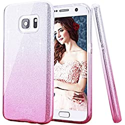 CJW Samsung Galaxy S8 Plus(2017) Case,CJW [Secret Garden] TPU Plating Clear Shiny Cover Series for Samsung Galaxy J5 J7 S7 S8 (Silver and Pink, Samsung Galaxy S8 Plus(2017))
