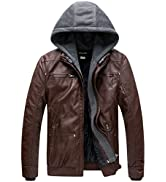 Wantdo Men's Faux Leather Jacket with Removable Hood Motorcycle Jacket Casual Vintage Warm Winter...