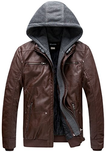 Wantdo Men's Leather Jacket with Removable Hood US Large Coffee