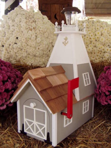 Amish Handmade Handcrafted Rural Mailbox Solar Lighthouse Lt. Gray & White