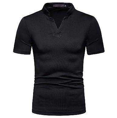 c5c844611 Joopee Men Fashion Solid V-Neck Short Sleeve Slim Fit Elastic Plus-Size T- Shirt Casual Blouse   Amazon.com
