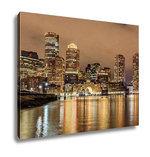 Ashley Canvas, Boston Down Town Sky Line At Night, Home Decoration Office, Ready to Hang, 20x25, - Town Down Boston