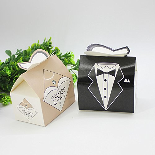 Saasiiyo 25 Pieces/lot Pairs Bride Dress & Bridegroom Suit Design Wedding Candy Box Packaging Box DIY Gift Box for Wedding Party (Cookie Monster Costume Pattern)