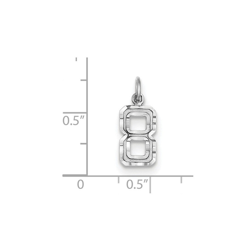 0.75 in x 0.28 in 14K Goldw Casted Small Diamond Cut Number 8 Charm Pendant