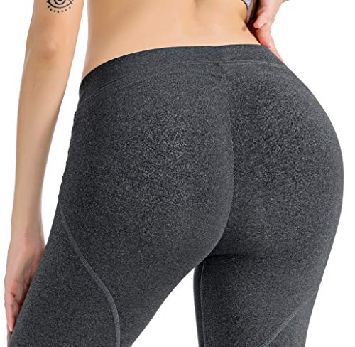 RUNNING GIRL Butt Lift Leggings Scrunch Butt Push Up Leggings Yoga Pants for Women Shapewear Skinny Workout Tights (1068,M, Heather Grey)