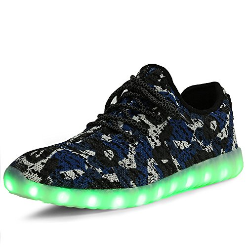 BININBOX Lovers USB Charging LED 7 Colors Light Flashing Sneaker Breathable Shoes Blue