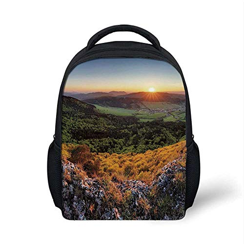 Nature Stylish Backpack,Balkans Slovakian Mountain Valley at Sunset Sky Surreal Landscape for School Travel,9.4