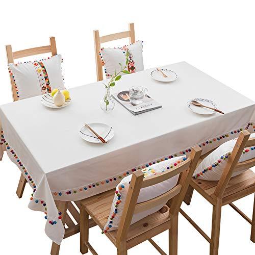 blanc 110110CM Nappe Rectangulaire Simple Et élégante De Table De Lin De Coton De Tissu Frais De Tissu Simple Et élégant,blanc,110  110CM