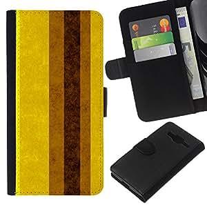 Planetar® Modelo colorido cuero carpeta tirón caso cubierta piel Holster Funda protección Para Samsung Galaxy Core Prime / SM-G360 ( Pastel Brown Yellow Vertical Mustard )