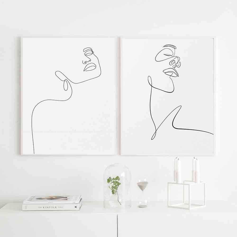 LWJZQT Cuadro sobre Lienzo 2 Piezas Cara Dibujo Boceto Arte Mujer En Una Línea Blanco Y Negro Cartel Femenino Minimalista Belleza Ilustración Impresiones 60X80cm