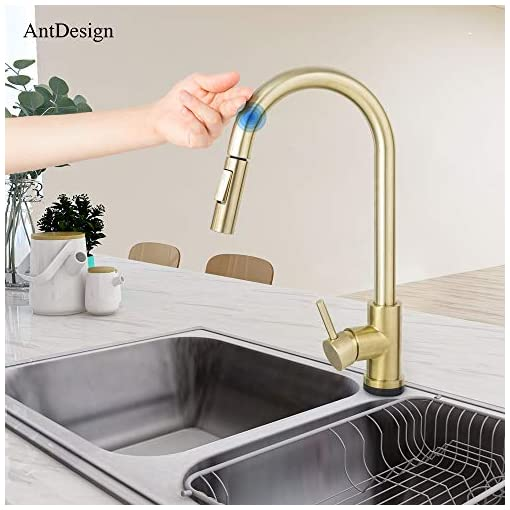 Kitchen AntDesign Touch On Gold Kitchen Faucet with Pull Down Sprayer,Modern Commercial Single Handle High Arc Kitchen Sink… modern sink faucets