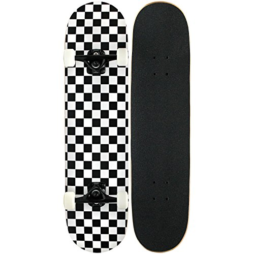 Checker Complete Skateboard - KPC Pro Skateboard Complete, Black and White Checker