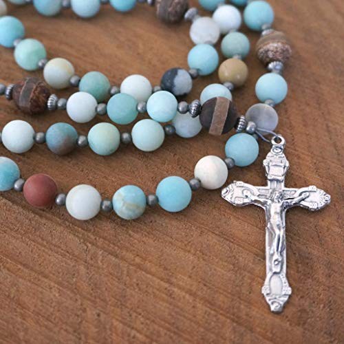 Modern Catholic Rosary featuring Matte Blue Amazonite Gemstone & Etched Tibetan Agate Beads, Handmade by Holy Rocks