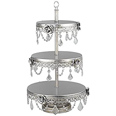 "Geneva 3-Tier 22"" H Silver and Faux Crystal Cake Stand"