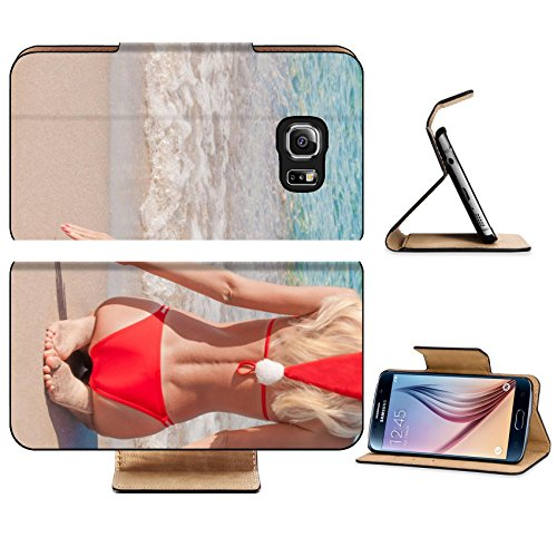 Luxlady Premium Samsung Galaxy S6 Edge Flip Pu Leather Wallet Case IMAGE 24917041 Beautiful young blonde woman in red christmas hat on sea beach New - Sunnies Australia Cheap