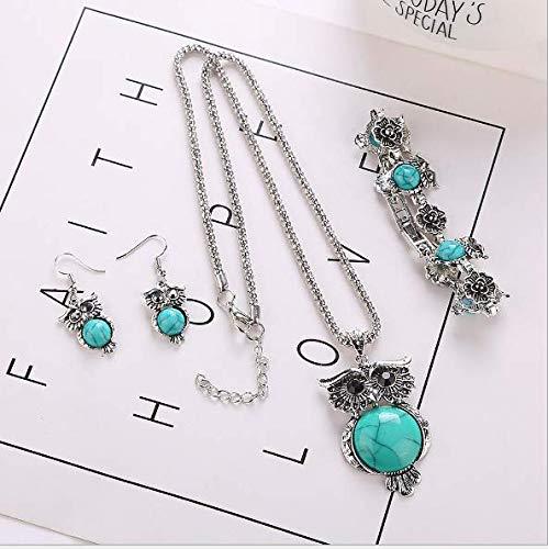 Kiki Girls Vintage Owl Jewelry Sets Silver Retro Turquoise Gemstone Owl Pendant Necklace Drop Earrings Charm Bracelet Set