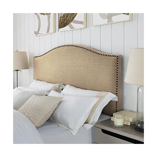 Dorel Living Winsted Linen King Headboard with Nailheads, Beige