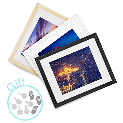 Besidetree 11x14 Inch Solid Wood Picture Frames 3 Pack - Bla