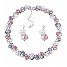 Luxury Pearl Wedding Jewelry Set Necklace Earrings Party Wear Birthday Gift for Mother Wife