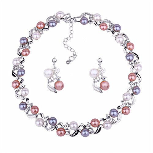 (Luxury Pearl Wedding Jewelry Set Necklace Earrings Party Wear Birthday Gift for Mother Wife (White))