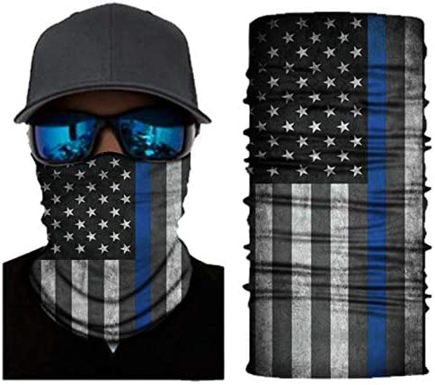 Van & Company Multifunctional Neck Gaiter, American Flag/Thin blue line,One Size