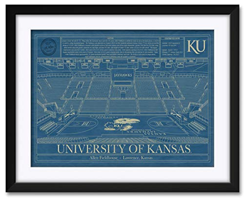 Northwest Art Mall Allen Fieldhouse Basketball Arena Kansas Jayhawks Framed & Matted Hand-Drawn by Robert Redding. Print Size: 17