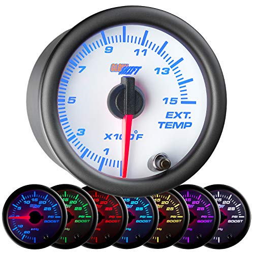 GlowShift White 7 Color 1500 F Pyrometer Exhaust Gas Temperature EGT Gauge Kit - Includes Type K Probe - White Dial - Clear Lens - for Diesel Trucks - 2-1/16