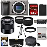 Sony Alpha A6000 Wi-Fi Digital Camera Body (Graphite) 50mm f/1.8 OSS Lens + 64GB Card + Case + Battery + Tripod + Tele/Wide Lens Kit