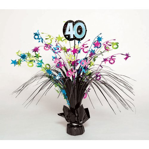 (Amscan Continuous 40th Birthday Party Spray Table Centerpiece Decoration, 1 Piece, Multi, 15