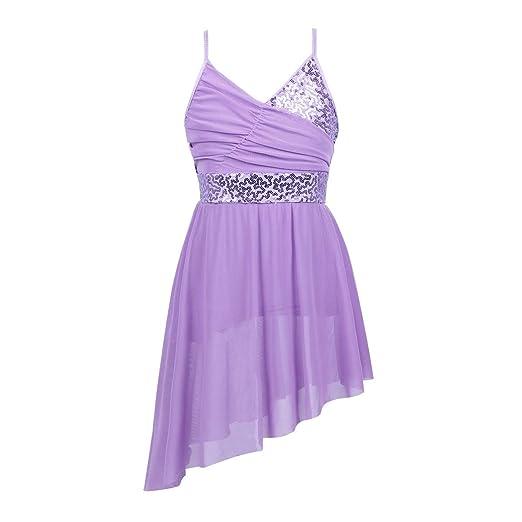 YiZYiF Kids Girls  Camisole Sequins Dance Lyrical Dress High-Low Skirt  Dancing Costumes Lavender 7bcfb40afdf2