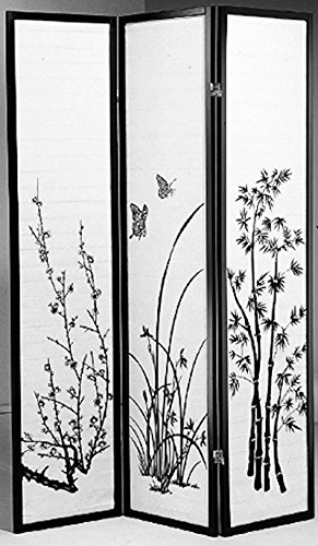 Legacy Decor 3-panel Floral Bamboo Design Wood Shoji