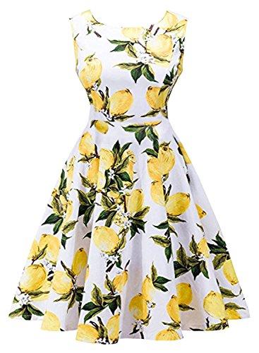 Futurino Women's Vintage Classy Floral 1950s Audrey Hepburn Tea Swing Midi (Tropical Floral Dress)
