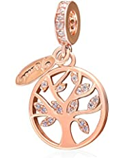 """"""" Tree of Life"""" Family Charms Rose Gold Dangle Charm 925 Sterling Silver Fit European Bracelets Gifts for Women mom"""